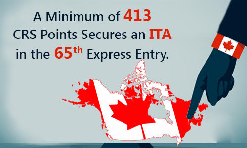 A minimum of 413 CRS points secures an ITA in the 65th Express Entry