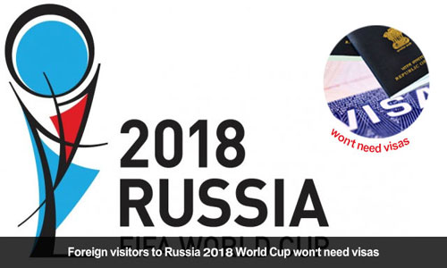Visa free entry for Travelers to Russia for 2018 football World Cup