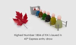 Highest Number 1,804  of ITA's issued in 45th Express entry draw