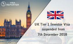UK Tier 1 Investor Visa suspended from 7th December 2018